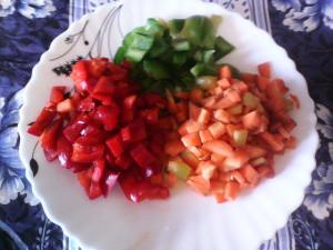 ризотто с курицей и овощами